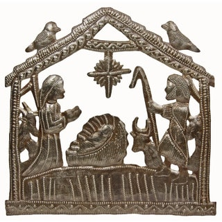In The Stable Metal Nativity Wall Art (Haiti)