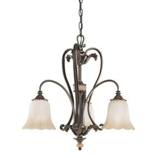 Transitional 3-light Oiled Bronze Chandelier with Golden Iridescent Glass