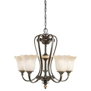 Transitional 5-light Oiled Bronze Chandelier with Golden Iridescent Glass