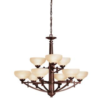 Transitional 9-light Olde Auburn Chandelier with Satin Etched Opal Glass