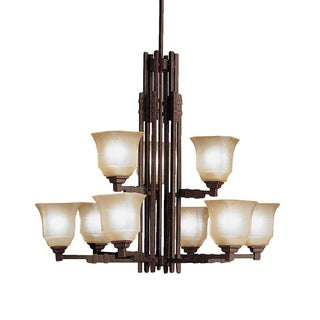Transitional 9-light Tannery Bronze Chandelier with Umber Marble Glass