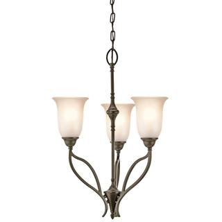 Transitional 3-light Shadow Bronze Chandelier with Sunrise Glass