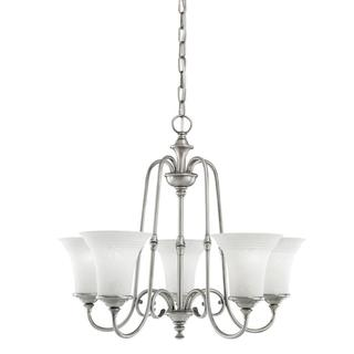 Transitional 5-light Antique Pewter Chandelier with White Textured Glass