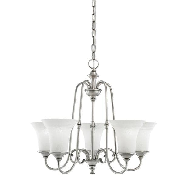 Transitional 5 light antique pewter chandelier with white textured transitional 5 light antique pewter chandelier with white textured glass aloadofball Images