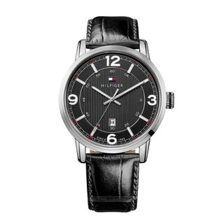 Tommy Hilfiger Men's 1710342 Black Leather Strap Watch
