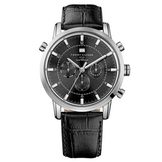 Tommy Hilfiger Men's 1790875 Black Leather Watch