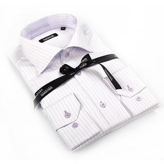 Georges Rech Men's Lavender and White Button-down Dress Shirt