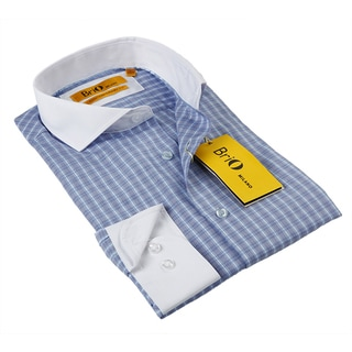 BriO Milano Men's Blue and White Button-down Shirt