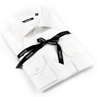 Georges Rech Men's White Striped Button-down Dress Shirt