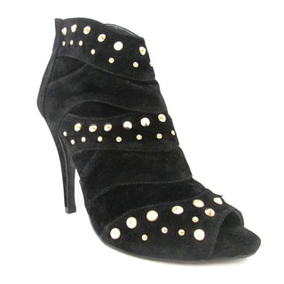 Olivia Miller Women's 'Audry' Black Peep-toe Stiletto Booties