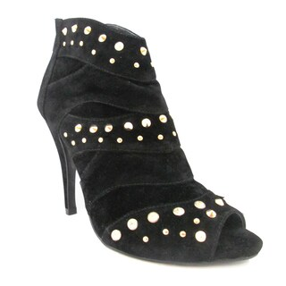 Olivia Miller Women's 'Audry' Black Peep-toe Stiletto Booties