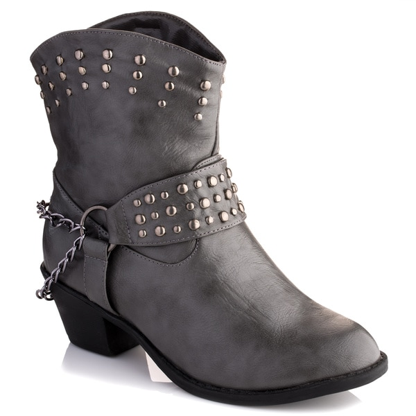 edc4c75f86bc Shop Olivia Miller Women's 'Avery' Grey Motorcycle Booties - Free ...