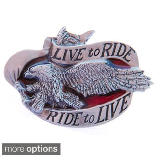 'Live to Ride, Ride to Live' Eagle Belt Buckle