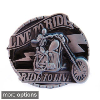 'Live to Ride, Ride to Live' Skeleton Belt Buckle
