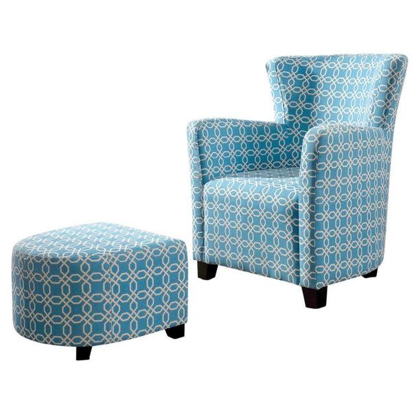 Shop Lizzi Blue White Club Chair With Ottoman Free Shipping Today