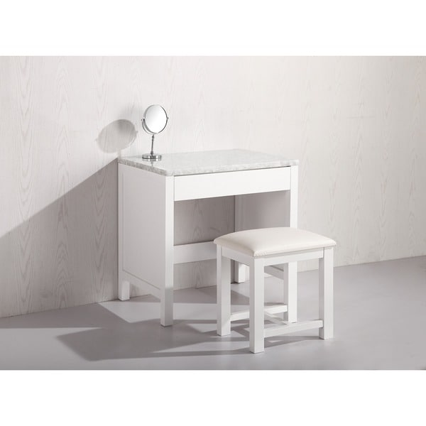 Design Element White Marble Top Makeup Table