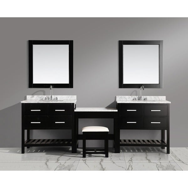 Design Element London 102 Inch Single Sink Espresso Vanity Set With Makeup  Table, And