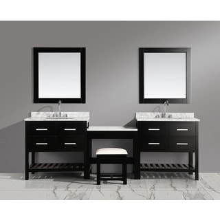 Design Element London 102-inch Single Sink Espresso Vanity Set with Makeup Table, and Bench Seat