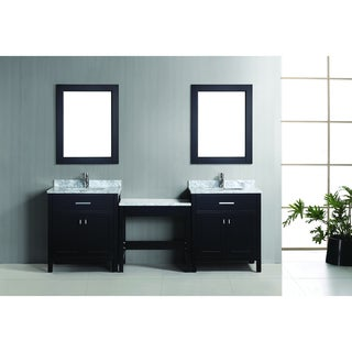 Design Element London 90-inch Espresso Vanity Set with Makeup Table, and Bench Seat
