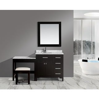 Design Element London 36-inch Single Sink Espresso Vanity Set with Make-up Table, and Bench Seat