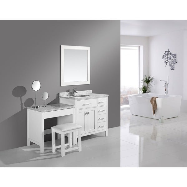 Shop Design Element London Single Sink White Vanity And Make-up Table