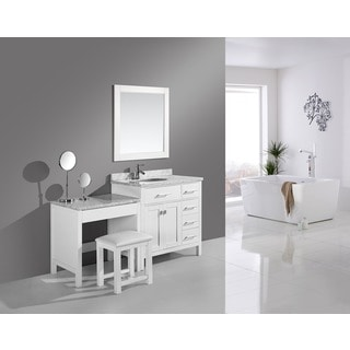 Design Element 66-inch London Single Sink White Vanity with Makeup Table, and Bench Seat
