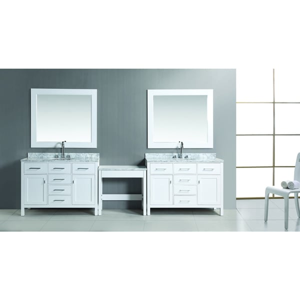 """Design Element Two London 48"""" Single Sink Vanity Set in White Finish with One Make-up Table"""
