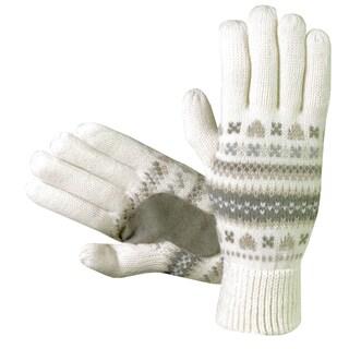 Isotoner Women's Fair Isle Knit Cotton Gloves (Option: Ivory)