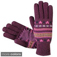 Isotoner Women's Fair Isle Knit Cotton Gloves