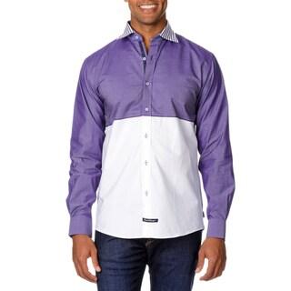 English Laundry Men's Color Block Long Sleeve Button Down Shirt