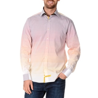 English Laundry Men's Ombre Striped Long Sleeve Button Down