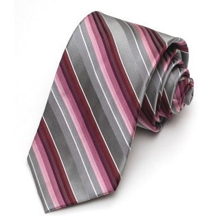 Alara Modern Width Purple and Grey Stripe Silk Tie