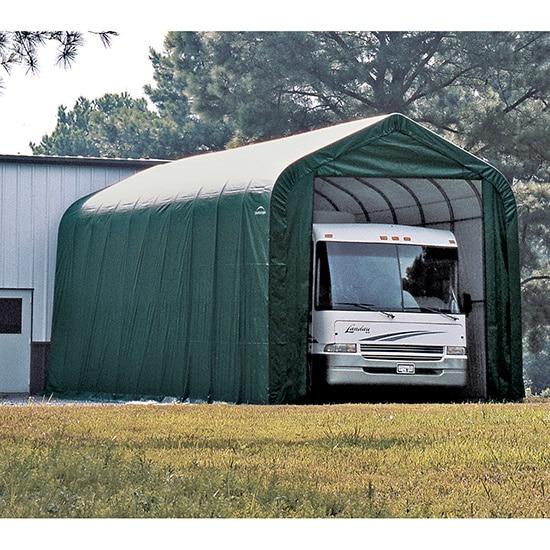 Shop Shelterlogic Green Automotive Boat Peak Style Outdoor Garage Storage Shed 18 Feet Wide X 20 Feet Long X 12 Feet High Overstock 9517566