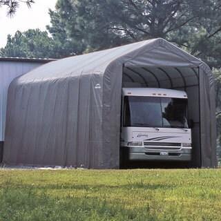 ShelterLogic Grey Automotive/ Boat Peak Style Outdoor Garage Storage Shed 18 feet wide x 28 feet long x 12 feet high