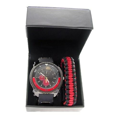 Linel Men's Quartz Analog Faux Chronograph Silicone Strap Paracord Bracelet Watch Set