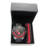 Linel Men's Quartz Analog Faux Chronograph Silicone Strap Paracord Bracelet Watch Set