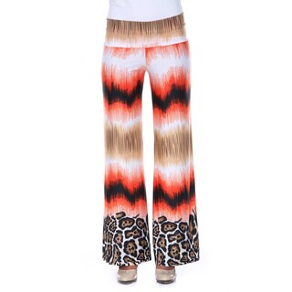 White Mark Women's Safari Sunrise Palazzo Pants