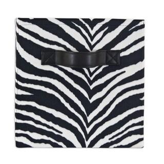 Zebra Black Storage Bin with Handle