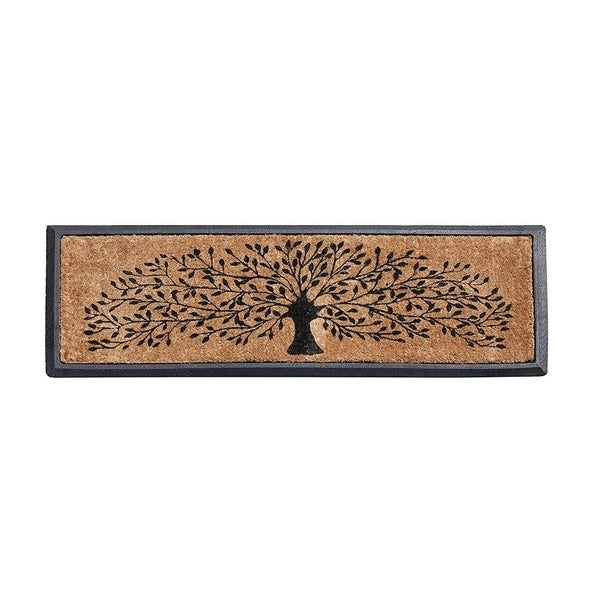 A1HC First Impressions Hand-crafted Molded Rubber Coir Tree Double Door Mat