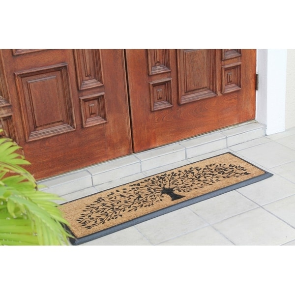 Hand Crafted Molded Rubber Coir Tree Double Door Mat 2 X27 6