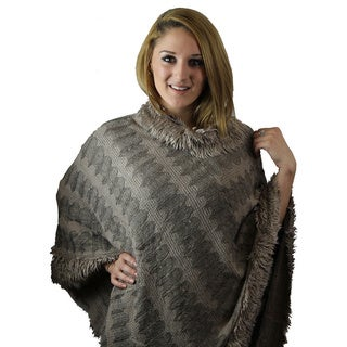 Le Nom Two-tone Luxury Poncho with Faux Fur