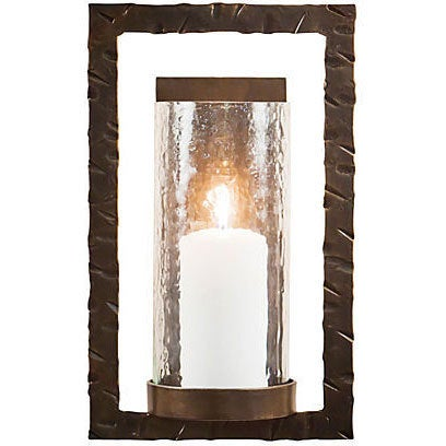 Bronze Rectangular Wall Sconce with Hammered Glass