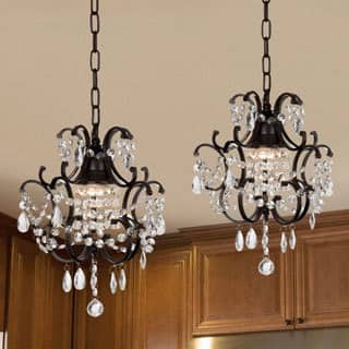 Buy wrought iron ceiling lights online at overstock our best gallery versailles wrought iron and crystal mini chandelier 2 in 1 set aloadofball Gallery