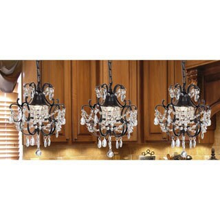 Gallery Versailles Wrought Iron and Crystal Mini Chandelier 3-in-1