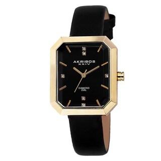 Akribos XXIV Women's Swiss Quartz Diamond Leather Black Strap Watch