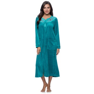 La Cera Women's Zip Front Bath Robe