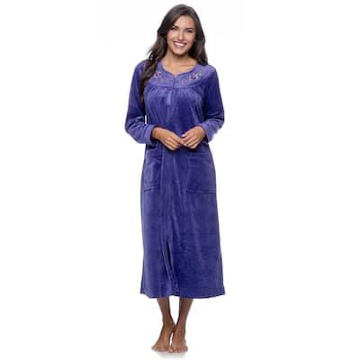 La Cera Women's Zip Front Bath Robe