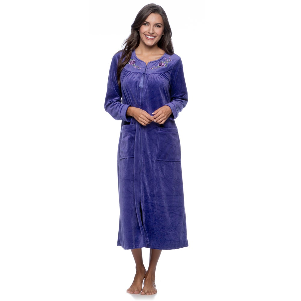 La Cera Womens Zip Front Bath Robe
