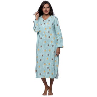 La Cera Women's Blue Owl Print Pull-over Night Gown