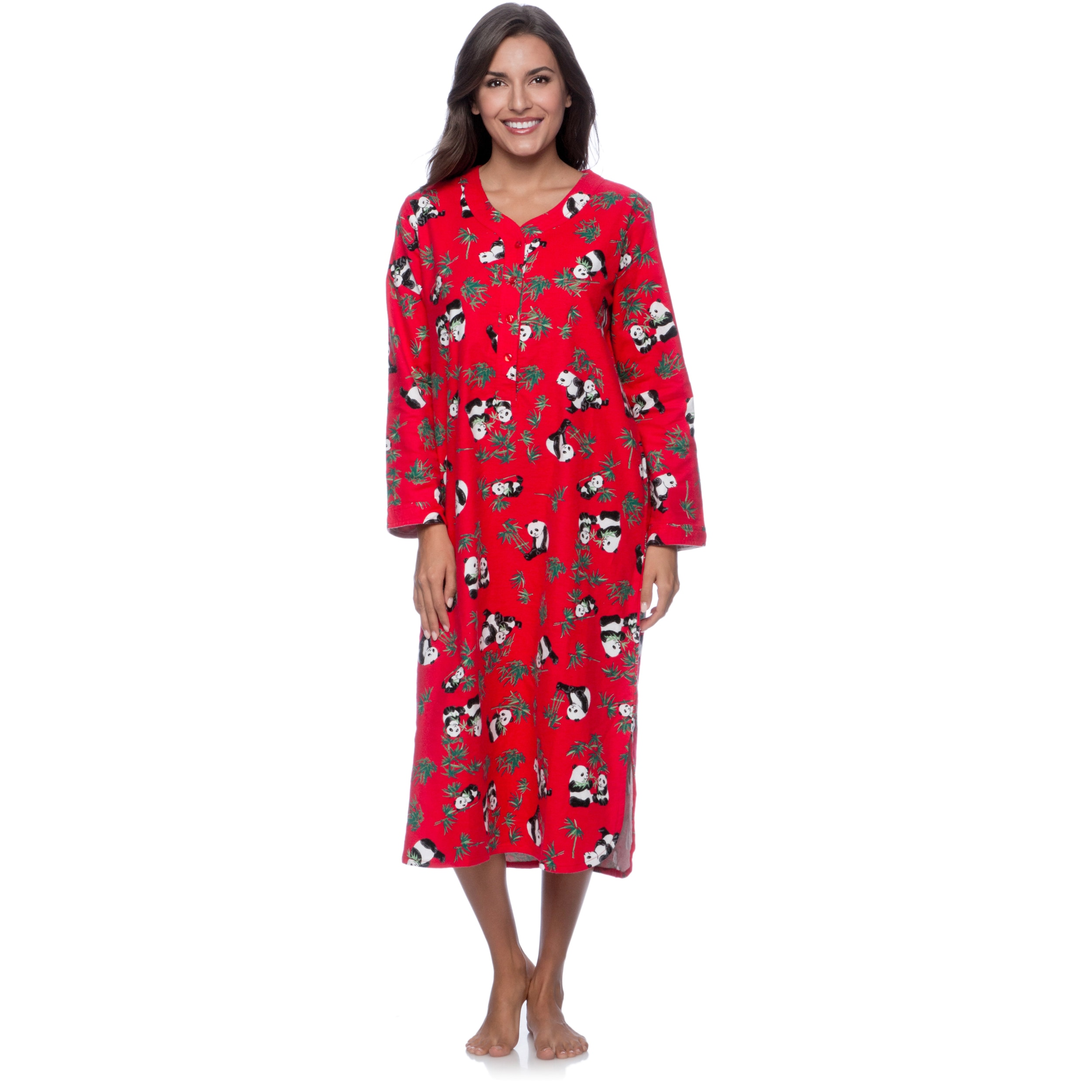 La Cera Women's Red Panda Print Pull-over Night Gown (L) ...